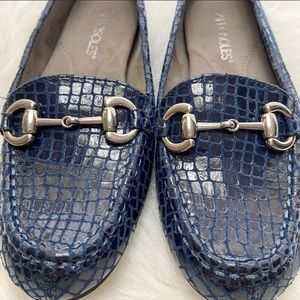 Aerosols Drive Through Slip On Navy Blue Loafers